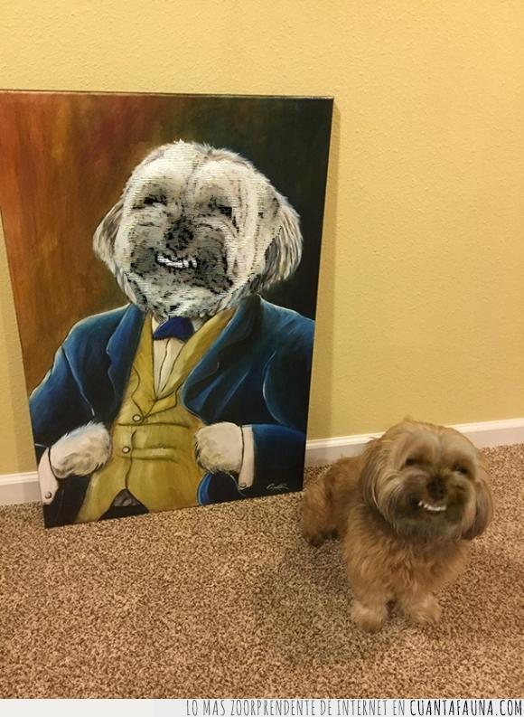 cuadro,dientes,perro,sonrisa