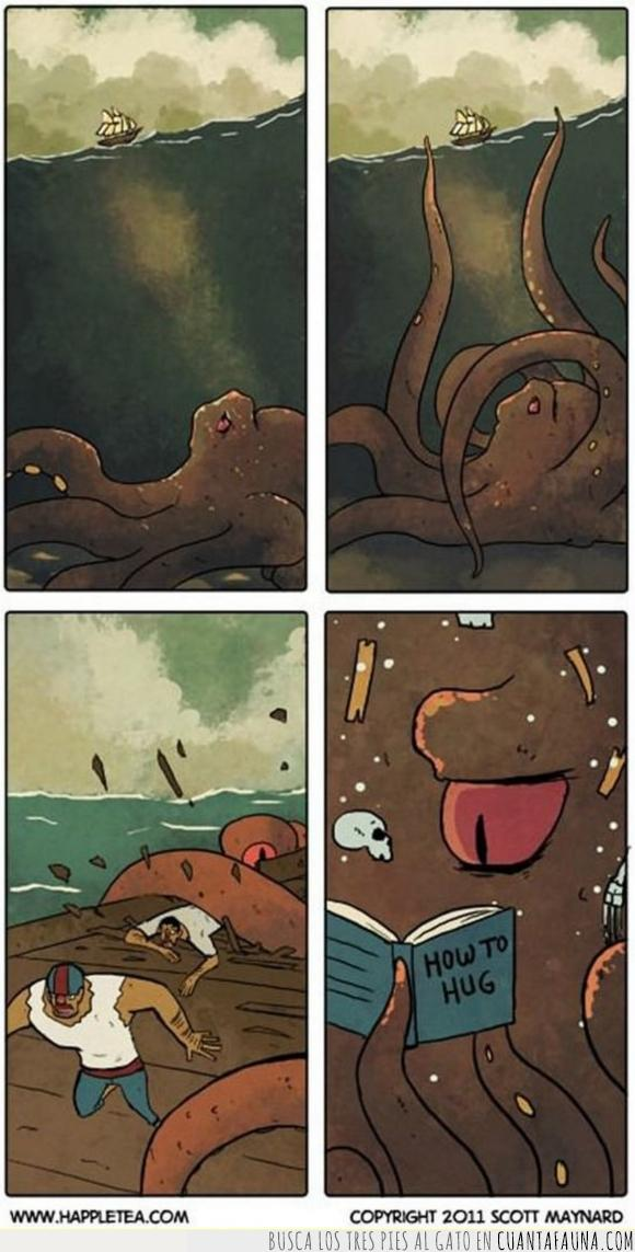 abrazo,barco,destrozar,pulpo