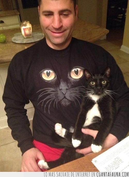 amo,amor,camiseta,cara,dueño,excesivo,friki,gato,negro