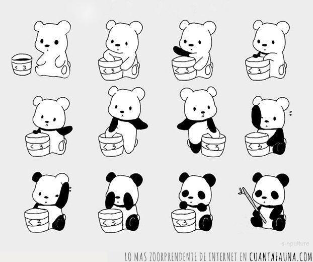 bambú,manchas,negras,ojos,panda,pasos,patas,pocos,sencillos,tutorial