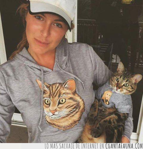 camiseta,chica,conjunto,dueño,gato,gris,ideal,objetivos,relación,sudadera