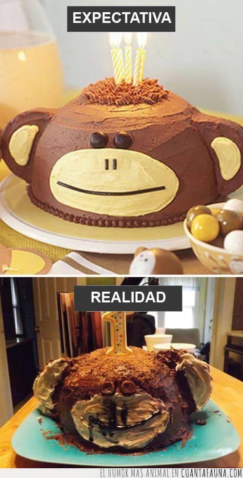 chocolate,cocinar,cumpleaños,expectativa,horror,mono,pastel,realidad,repostería,tarta