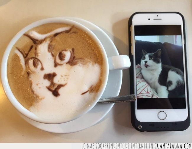 café,cafetería,cara,copiar,crear,dibujo,foto,gato,móvil,nata,retrato,taza,tokyo
