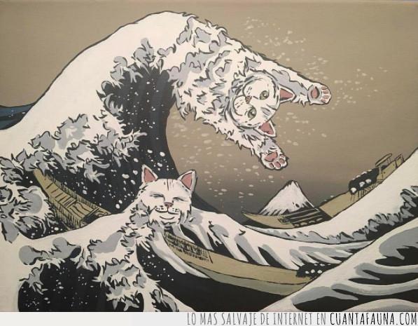 arte,cuadro,detalle,espuma,estampa,famosa,fuji,gato,japón,mar,nipón,ola,sorprender