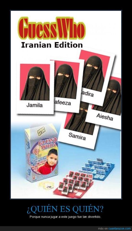 burka,juego,quien es quien,tablero