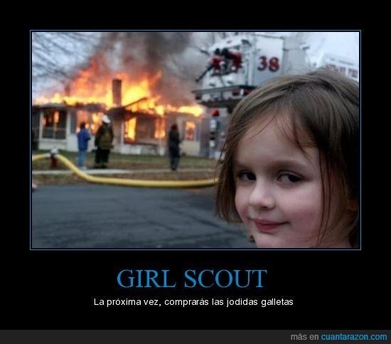 galletas,incendio,niña,scout