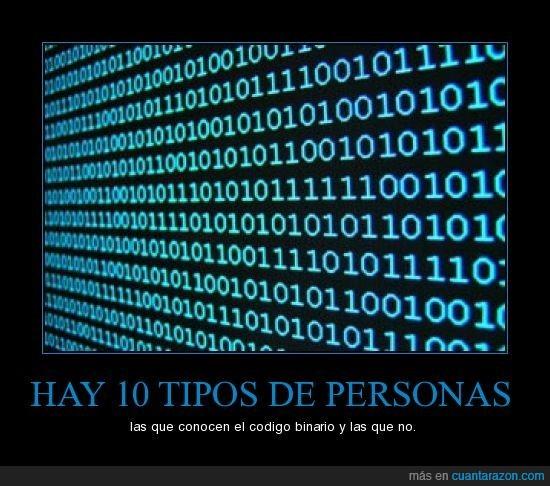 código binario,conocer,personas,tipos