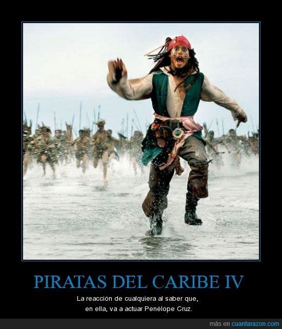 correr,Johnny Depp,Penélope Cruz,Piratas del Caribe,yo también creo que Penélope Cruz es más seca que un bocata de polvorones