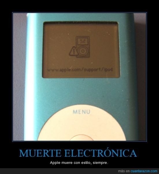 apple,ipod,muerte electrónica,muerto,roto
