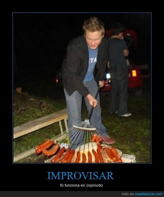 barbacoa,improvisar,salchichas