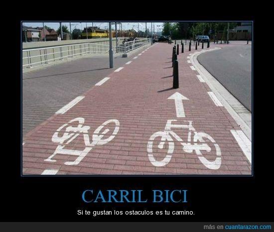 bici,carril,obstáculos