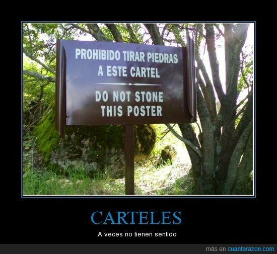 cartel,estúpido,piedras,señal,sin sentido