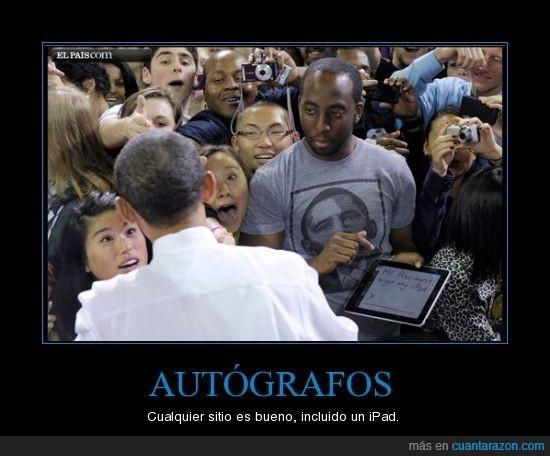 autografo,ipad,obama