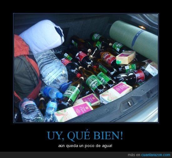 agua,borrachos,botellas,camping,coche,maletero