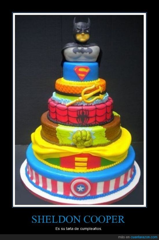 cumpleaños,sheldon,superhéroes,tarta