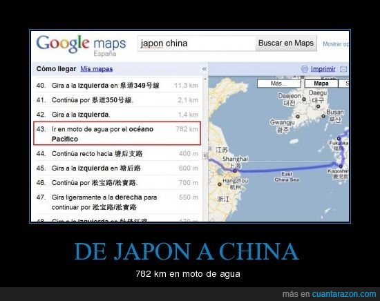 china,google maps,japon,mapa,moto de agua