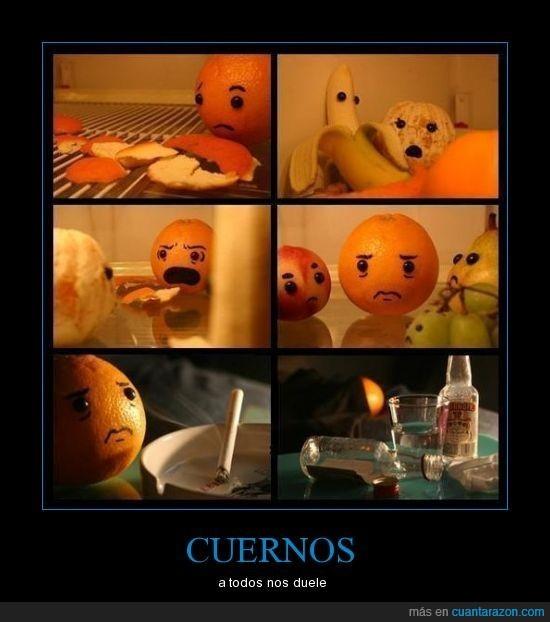 cuernos,fruta,naranja