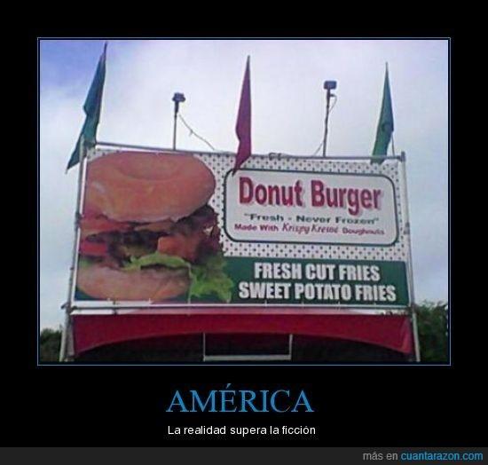 America,donut,ficcion,gordos,hamburguesa,realidad