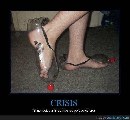 botella,crisis,zapatos