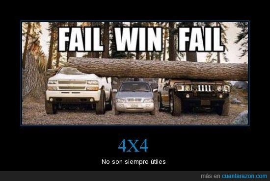4x4,árbol,fail,tronco,win