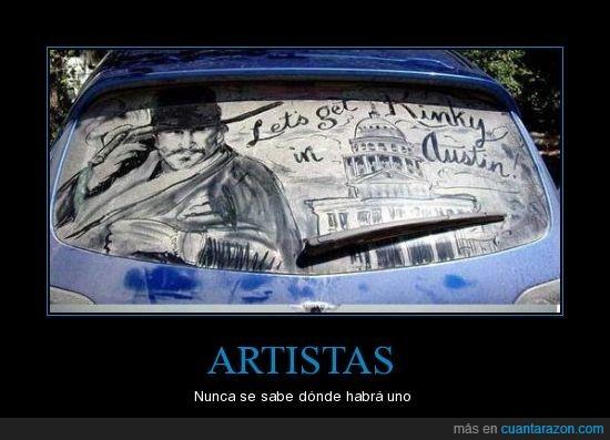 artista,coche,cristal