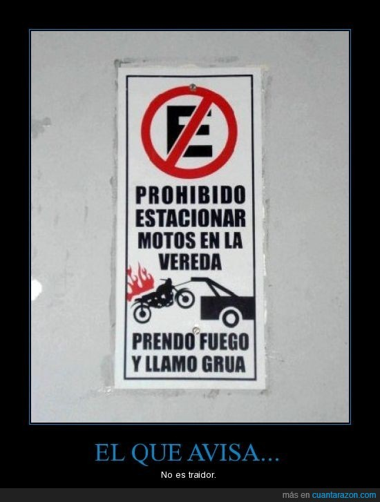 aviso,estacionar,grua,motos,quemar