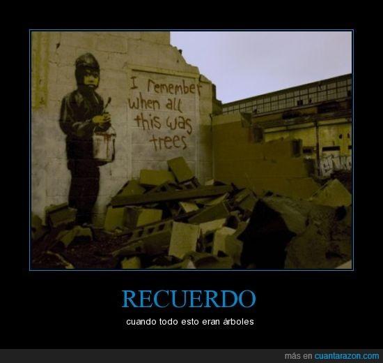 arboles,banksy,graffiti,recuerdo