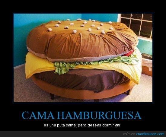cama,dormir,hamburguesa