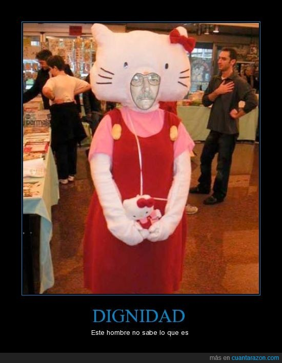 anciano,falto de dignidad,hello kitty