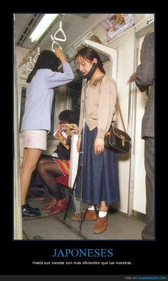 de pie,japoneses,metro,siesta