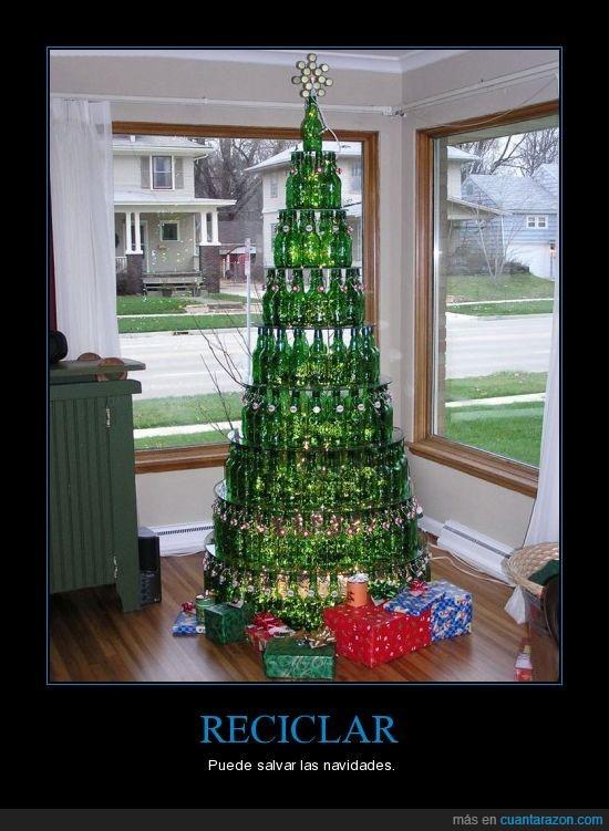 arbol,botellas,cerveza,navidad,reciclar