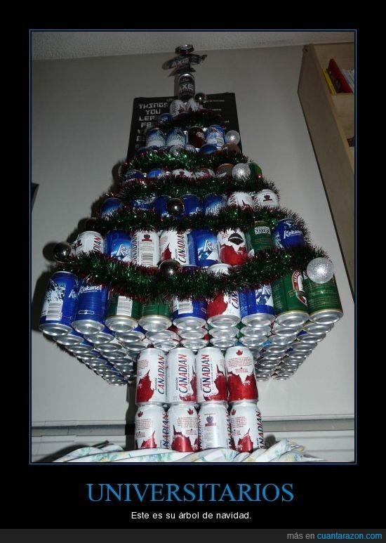 arbol,cervezas,navidad,universidad,universitarios