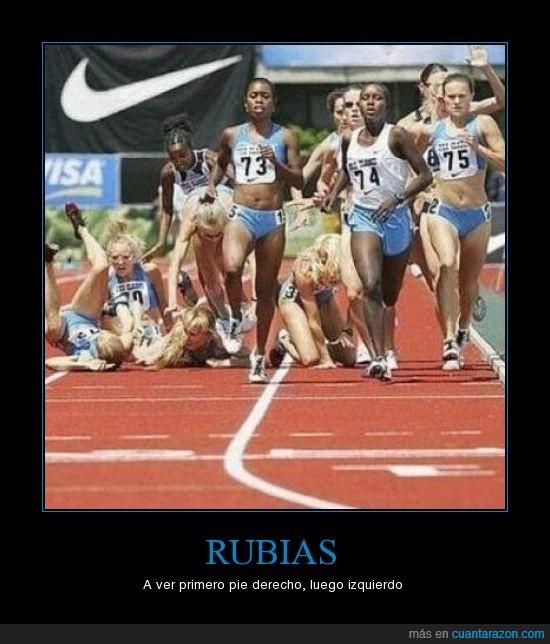 atletas,caerse,rubias,tontas