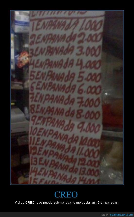 costar,empanadas,precio,predecible