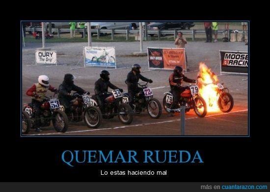 Carrera,Fail,Fuego,Moto,quemar,rueda