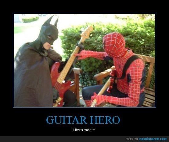 batman,guitar hero,heroes,literalmente,spiderman
