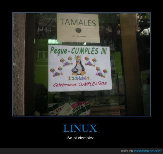 cumpleaños,linux,pequecumple,pingüino,pluriempleo