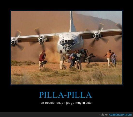 avion,corre,juego,pilla