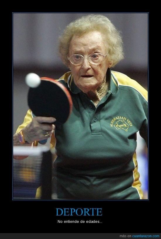 abuela,deporte,edad,ping pong