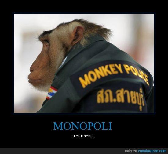 animales,cartel,foto,juegos,literalmente,LOL,monopoli,monos,policia