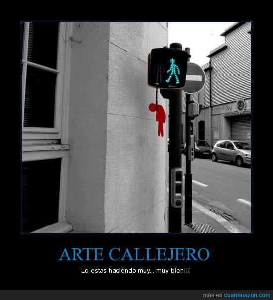 ahorcado,arte,callejero,semáforo