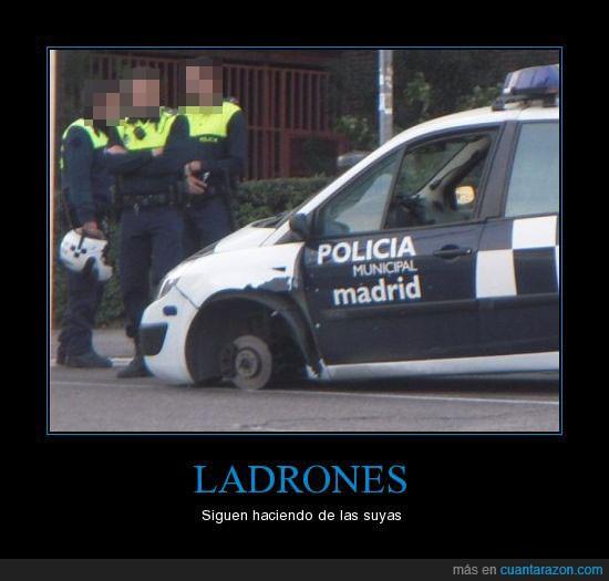coche,ladrones,policia,rueda