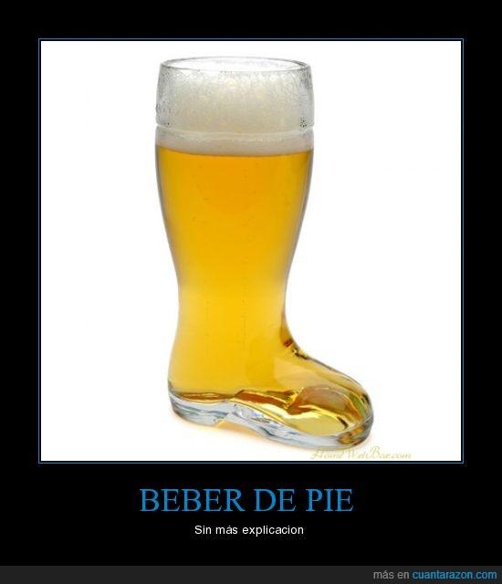beber,bota,pie,vaso