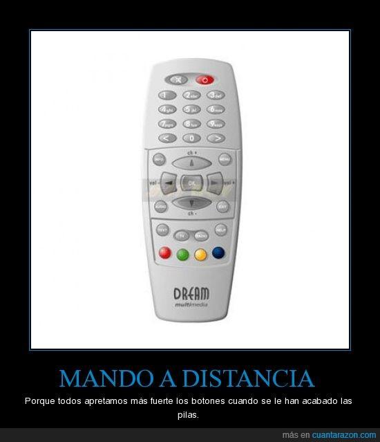 apretar,distancia,fuerte,mando,pilas