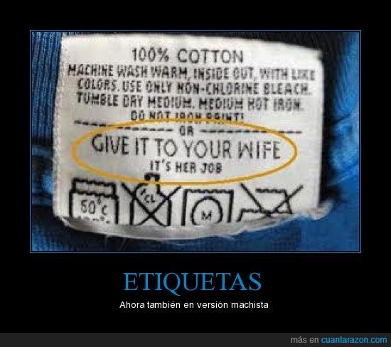 etiqueta,lavar,machista,mujer,trabajo