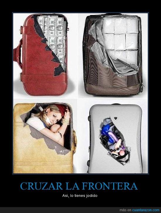 cruzar,delincuente,frontera,maletas