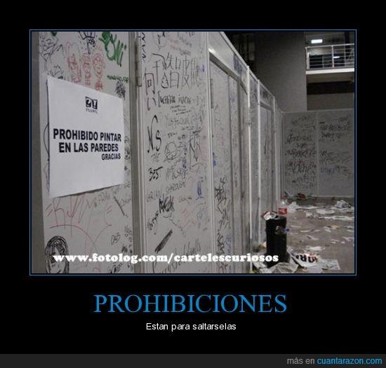 cartel,paredes,pintar,prohibido