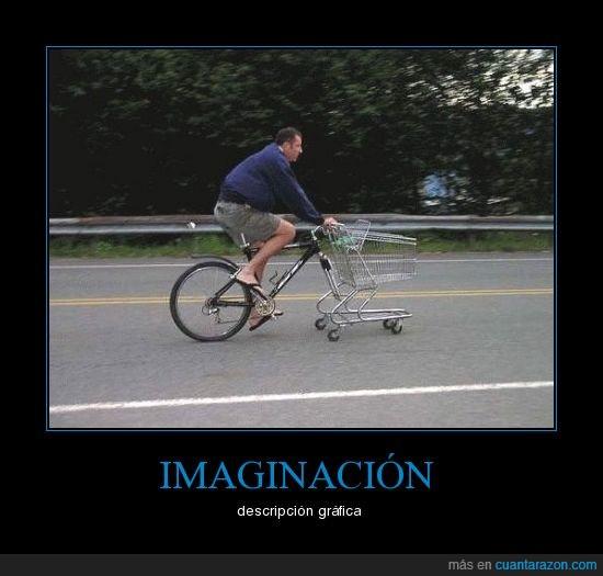 bicicleta,carrito del super,imaginación