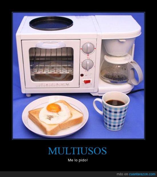 cafe,huevo,microondas,multiusos,tostada
