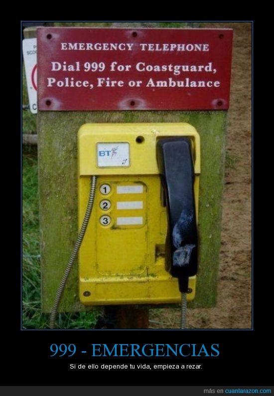 999,ambulancia,ayuda,bomberos,emergencia,guardacostas,llamar,policia,socorro,telefono